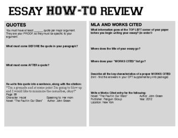 Essay REVIEW - Recap of the Essay Elements