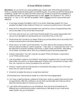 Essay Reflection Questions - AP Literature