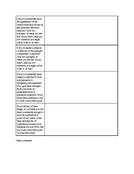 Essay Reflection and Self Evaluation - AP Lang New Rubric