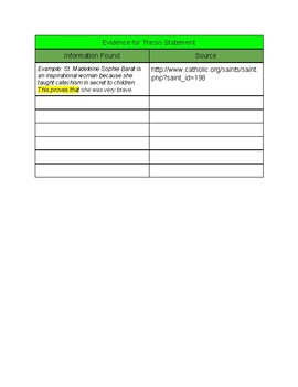 Essay Research Graphic Organizer