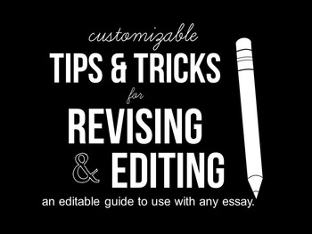 Essay Revision Checklist - Tips & Tricks for Revising Any Essay   Customizable!