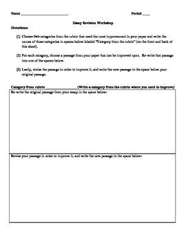 Essay Revision Workshop