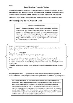 FREE! Essay Structure