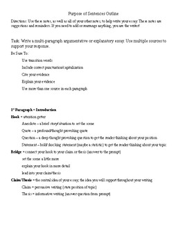 Essay Structure and Purpose of Sentences Outline