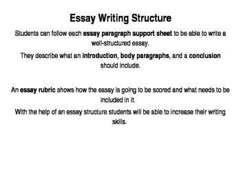 Essay Structure Or How To Write A Good Essay By Tatyana  Tpt Essay Structure Or How To Write A Good Essay