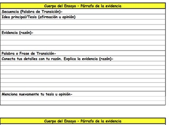 Free Essay Template for Developing Evidence Graphic Organizer (Spanish)