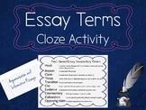 Essay Terms Cloze Freebie