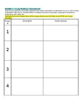 Essay Tournament Note Sheet