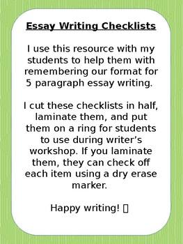 Essay Writing Checklist