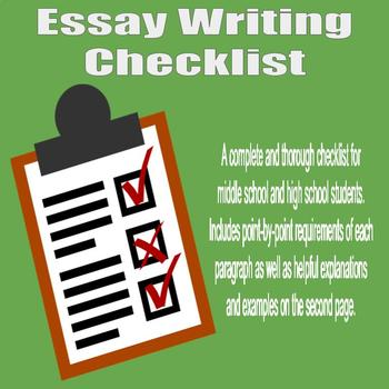 essay writing checklist   high school and middle school