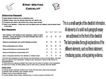 Essay Writing Checklist  High School And Middle School By A  Essay Writing Checklist  High School And Middle School