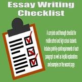 Essay Writing Checklist - High School and Middle School