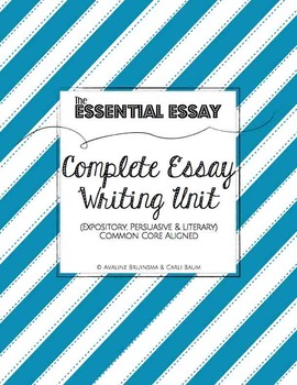 Essay Writing Complete Unit (Expository, Persuasive & Literary) Common Core