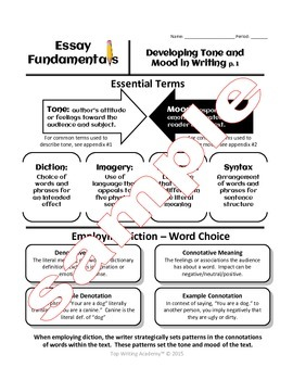 Expository Essay Developing Tone and Mood (Diction Fig. Lang  Syntax)