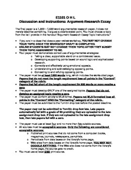 Essay Writing: Instructions for Writing an Argument & Research Essay