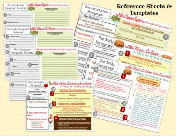 Essay Writing Menus & Reference Sheets Bundle, Writing, Essay Writing
