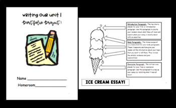 Essay Writing Packet- Super Scaffolded- ICE CREAM Essay- Chunked