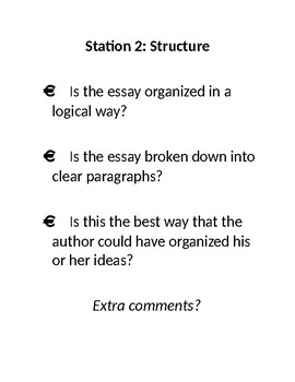 Essay Writing Peer Editing Stations