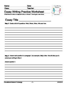 Essay Writing Practice Worksheet