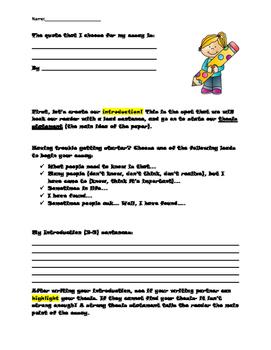 Essay Writing Prompts, Organizers, Rubrics *No Prep Printables and Mini-Lessons*
