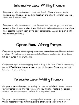 Essay Writing Prompts Opinion, Persuasive, Informative