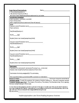 Essay Writing Reference Pages and Planner (includes mentor essay)