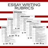Essay Writing Rubrics - Summary, Narrative, Persuasive, Response to Literature