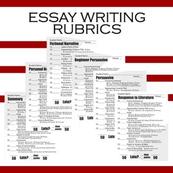 Essay Writing Rubrics - Summary, Narrative, Persuasive, Response to Literature