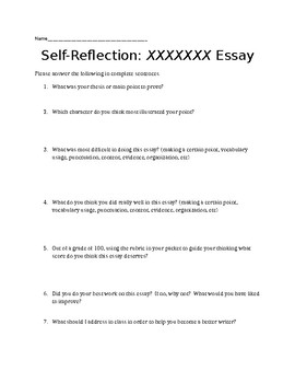 Essay writing student self reflection and rubric by preserving