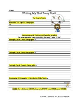 Essay Writing Worksheet: 1st Draft by Jimen035 | TpT