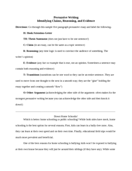 Essay Writing Use Of Transitions Teaching Resources  Teachers Pay  Essay Writing Using Claim Evidence And Reasoning