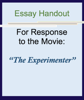 Narrative Essay Thesis Statement Examples Essay For Movie The Experimenter Assignment Handout For Psychology  Milgram Thesis Essay Topics also Is A Research Paper An Essay Essay For Movie The Experimenter Assignment Handout For  Cheap Essay Papers