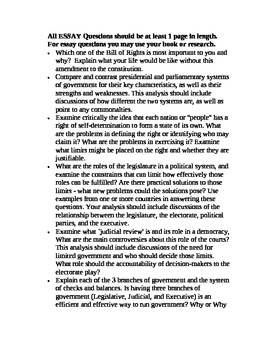 Essay on Questions on Government