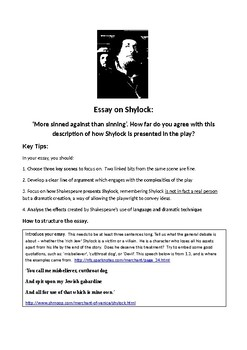 Essay plan for Shylock's character in  'The Merchant of Venice'