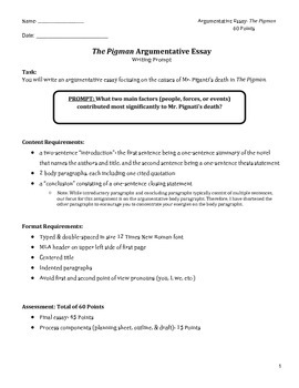 essay prompt for the pigman rubric outline and modified guide