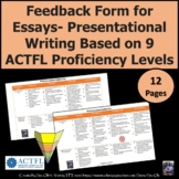 Essay quick Feedback form- Presentational writing by ACTFL levels