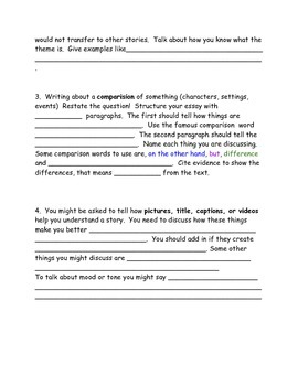 Essay tips for PARCC or other standardized essay testing 5th Grade ELA