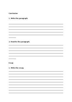 Essay writing worksheet Word