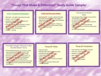 Essays That Make A Difference Study Guide- Code X Unit 1: College 101