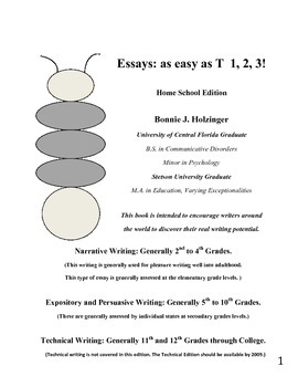 Essays as Easy as T 1, 2, 3! Home School Edition
