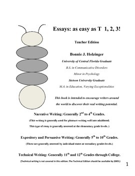Essays as Easy as T 1, 2, 3! Teacher Edition (Goes with th