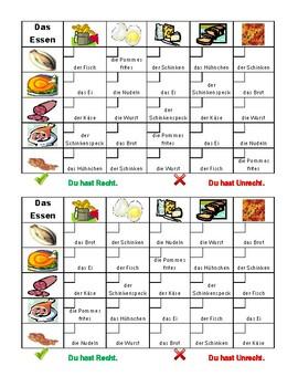 Essen (Food in German) Grid vocabulary activity