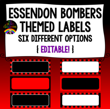 Essendon Bombers Themed Labels {Editable!}