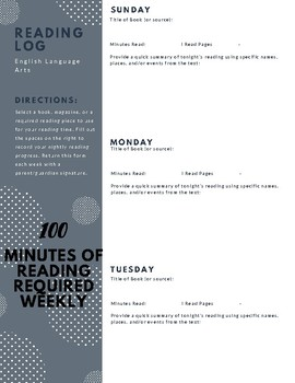 Essential 100 Minute Middle Grades Reading Log
