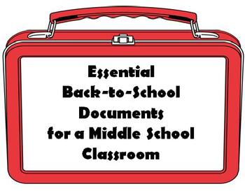 Essential Back-to-School Documents for a Middle School Classroom