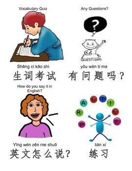 Essential Classroom Commands and Phrases Cards with Pictures in Chinese 1