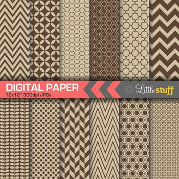 Essential Digital Paper Patterns - Chocolate and Taupe