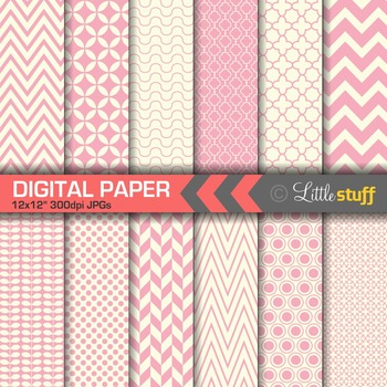 Essential Digital Paper Patterns - Pink and Cream