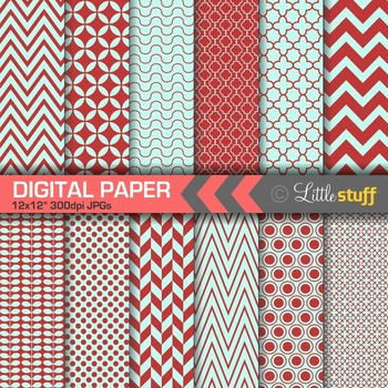 Essential Digital Paper Patterns - Red and Blue