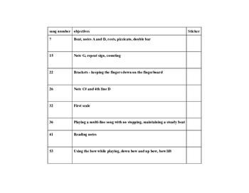 Essential Elements Beginner Violin Lesson Sticker Chart